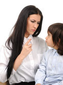 Boy confronts his mother who is threatening him — Stock Photo