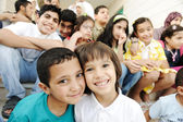 Large group, crowd, lot of happy children of different ages, summer outdoor — Stock Photo