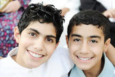 Portrait of two boys brothers and best friends with healthy teeth — Stock Photo