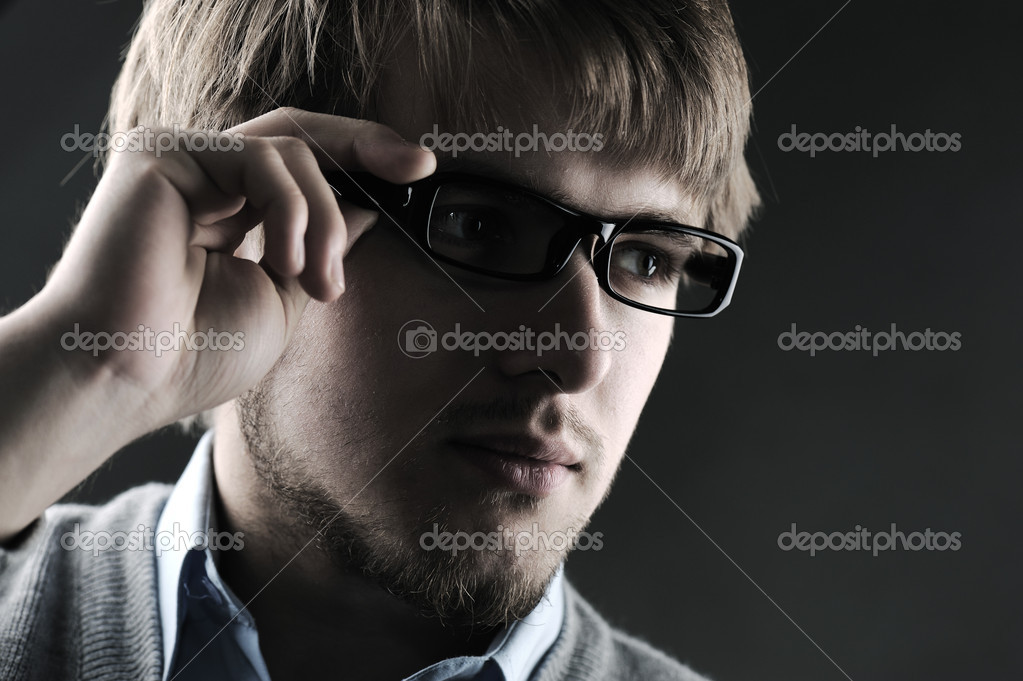 Portrait of a handsome stylish man with glasses  Stock Photo #6212953