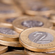 Polish two Zloty coins background - Stock Photo