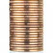 Gold coins stack on white - Stock Photo
