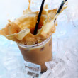 Cold coffee drink with ice and splashes — Stock Photo