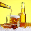 Beer is pouring into glass - Foto de Stock