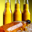 Bottles of cold and fresh beer with ice — Stock Photo #5716701