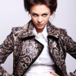 Attractive woman in leather jacket — Stock Photo #5841831