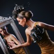 Stylish woman and Mirror — Stock Photo #5841843