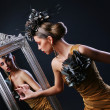 Stylish woman and Mirror — Stock Photo