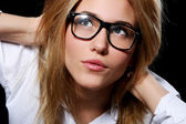 Young Student Girl in Nerd Glasses — Stock Photo