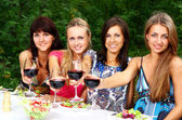 Group of Young Girls Drinking Wine in Park — Stock Photo