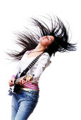 Beautiful woman with electro guitar — Stock Photo