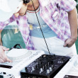 Stylish DJ in work — Stock Photo