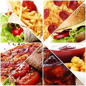 Fast food kolaj — Stok fotoğraf