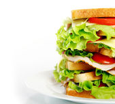Big sandwich on the plate — Stock Photo