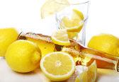 Bottle of cold beer with fresh lemons — Stock fotografie