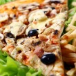 Close up view of fresh pizza — Stock Photo