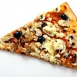 Slice of fresh pizza with olives and mushrooms — Stock Photo #6258746