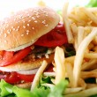 Big and tasty burger with fries — Stock Photo #6258806