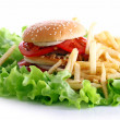 Big and tasty burger with fries — Stock Photo