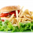 Big and tasty burger with fries — Stock Photo #6258811