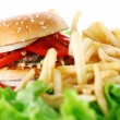 Big and tasty burger with fries - Foto de Stock
