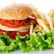 Big and tasty burger with fries — Stock Photo #6258818