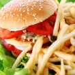 Big and tasty burger with fries — Stock Photo #6258828