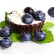 Stock Photo: Dessert with berries and cottage cheese