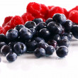 Fresh forest berries over white background - Stock Photo