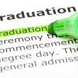 'Graduation' highlighted in green — Stock Photo