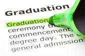 'Graduation' highlighted in green — Stockfoto