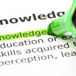 The word 'Knowledge' highlighted in green — Foto de Stock
