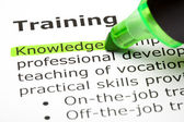 'Knowledge' highlighted, under 'Training' — Stock Photo