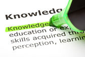 The word 'Knowledge' highlighted in green — Stock Photo