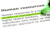 'Workforce management', under 'Human resources' — Stock Photo