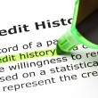 """Credit history"" highlighted in green — Stock Photo"