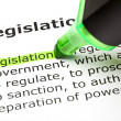 "The word ""Legislation"" highlighted in green — Stock Photo"
