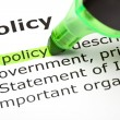 Foto de Stock  : 'Policy' highlighted in green