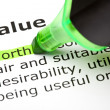 Stock Photo: 'Worth' highlighted, under 'Value'