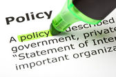 'Policy' highlighted in green — Foto Stock
