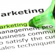 'Marketing' highlighted in green — Stock Photo