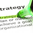 'Strategy' highlighted in green — Stock Photo