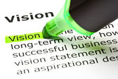 'Vision' highlighted in green — Stock Photo