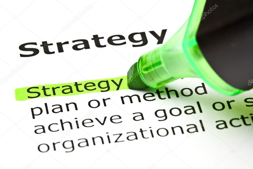 The word 'Strategy' highlighted in green with felt tip pen — Stock Photo #5659329