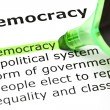Stock Photo: 'Democracy' highlighted in green