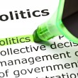 'Politics' highlighted in green — Stock Photo