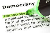 'Democracy' highlighted in green — Stock Photo