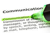 'Communication' highlighted in green — Foto Stock
