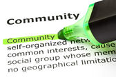 'Community' highlighted in green — Stock Photo