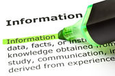 'Information' highlighted in green — Stock Photo